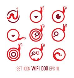 Set icon of wifi dog vector