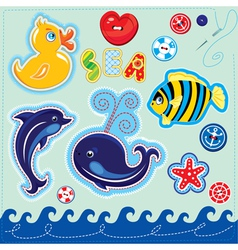 Set of buttons cartoon animals and word SEA vector