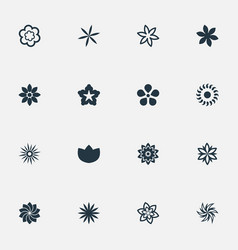 set simple flower icons vector image