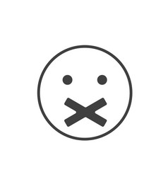 Silence icon face with crossed mouth silence vector