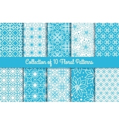 simple floral patterns set vector image