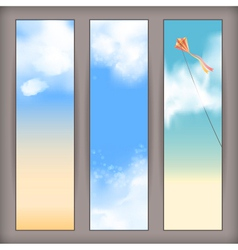 Sky banners with white clouds and flying kite vector image
