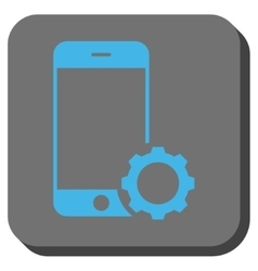 Smartphone Setup Gear Rounded Square Button vector