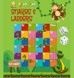 snakes and ladders board game vector image