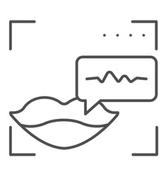 Sound recognition and lips thin line icon voice vector