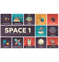 Space - set of flat design infographics elements vector