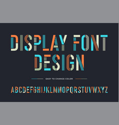 stencil line font colorful condensed alphabet and vector image
