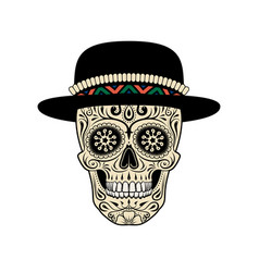 stylized sugar skull in hat decorative skull vector image