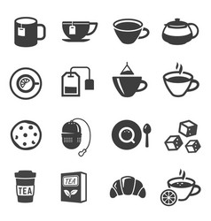 tea icon set healthy beverage cup for refreshment vector image