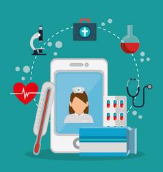 Tele medicine online with smartphone vector