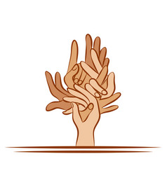 the figure of a tree from human hands vector image
