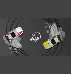 Top view of a drifting cars vector