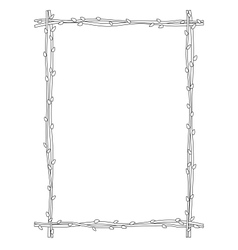 Twig sprig frame black white isolated vector