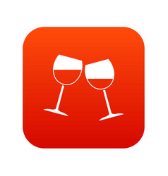 two wine glasses icon digital red vector image