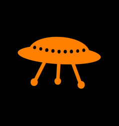 Ufo simple sign orange icon on black background vector