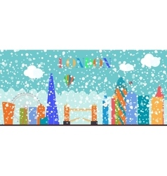 UK Silhouette Christmas and New Year London city vector image