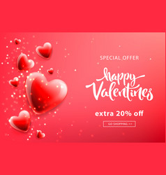 valentines day sale template with heart shaped vector image