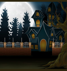 View of a haunted house with the background of a f vector