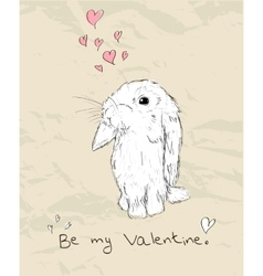Vintage romantic card with cute animal vector image