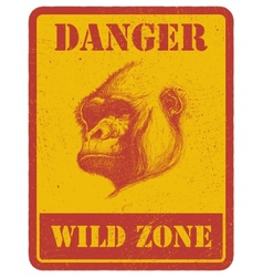 warning sign danger signal with gorilla eps 8 vector image