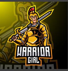 Warrior girl esport mascot logo design vector