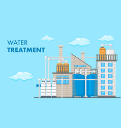 Water treatment system banner with text vector