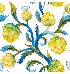 Watercolor art nouveau artichoke pattern vector image