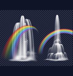 Waterfalls and rainbows decorative elements vector