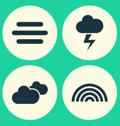 Weather icons set collection of lightning haze vector