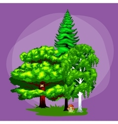 Wild forest trees plants and animalsPine Tree vector