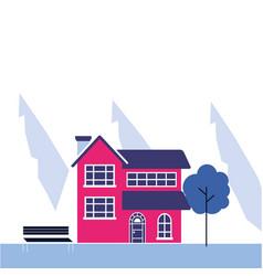 winter landscape house mountains vector image