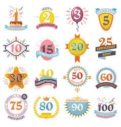 anniversary badges set birthday numbers vector image