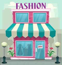 cartoon fashion shop building purple woman hobby vector image vector image