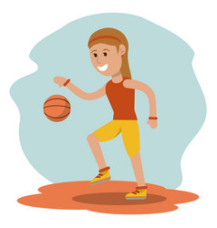 cartoon girl playing basketball sport design vector image vector image