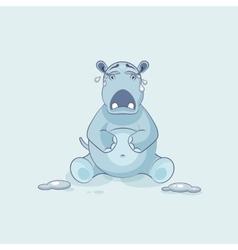 Emoji character cartoon hippopotamus crying vector