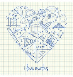 i love math doodles in heart vector image vector image