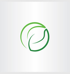 leaf green eco symbol logo icon circle vector image