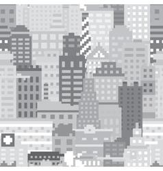 Pixel art city seamless pattern vector image