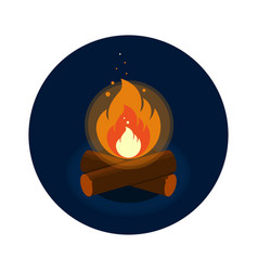 round icon of bright bonfire with firewood on dark vector image vector image