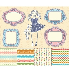 set frames and backgrounds baby girl vector image