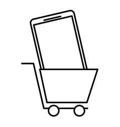 shopping cart and smartphone online order commerce vector image