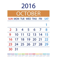 2016 calendar simple design date template month vector image