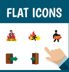 flat icon door set of emergency entrance vector image vector image