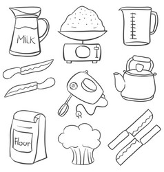 Kitchen set hand draw doodle style vector