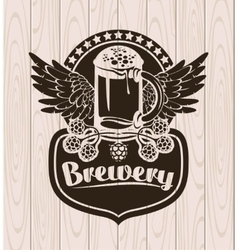 label with a glass of beer vector image vector image