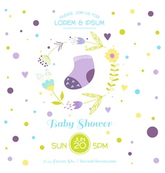 Baby Shower Card - with Cute Socks vector image vector image