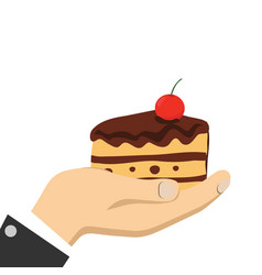 cartoon hands holding cake vector image vector image