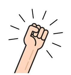Fist icon hand with shaking raised up vector image vector image