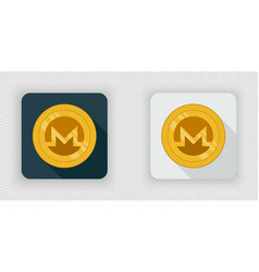 light and dark crypto currency icon monero vector image vector image