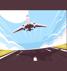 passenger plane takes off from runway vector image